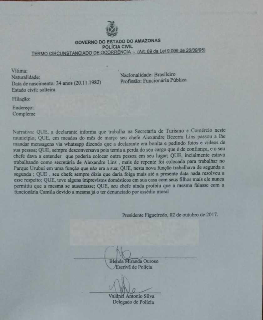 Documento policial, o relato da servidora - Imagem: Divulgação