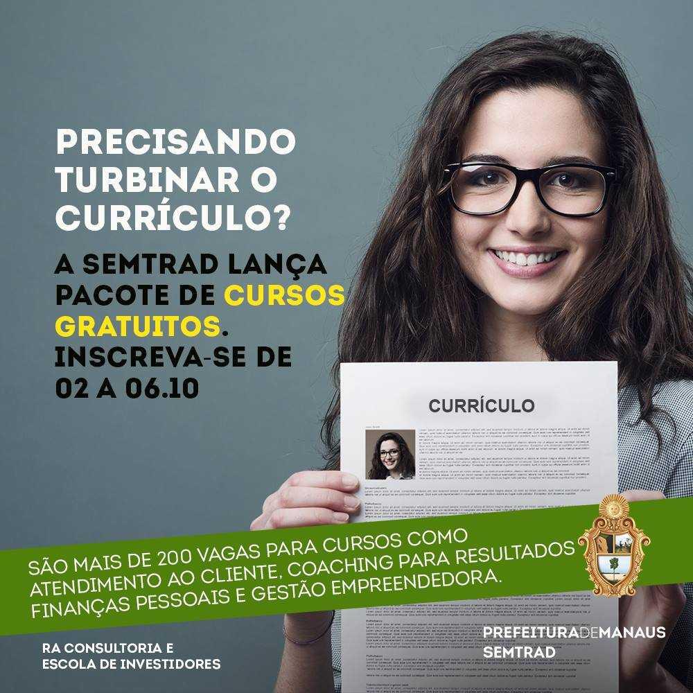 Semtrad oferece mais de 200 vagas de cursos gratuitos em Manaus - Imagem: Divulgação