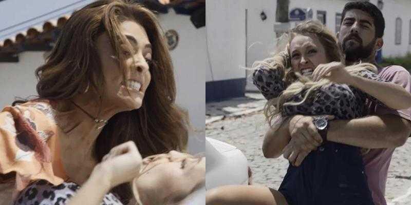 Bibi dá uma surra em Carine. (Foto: Reprodução/Globo/Montagem TV Foco)