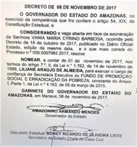 Liliane foi nomeada secretária de Amazonino - Imagem: Divulgação