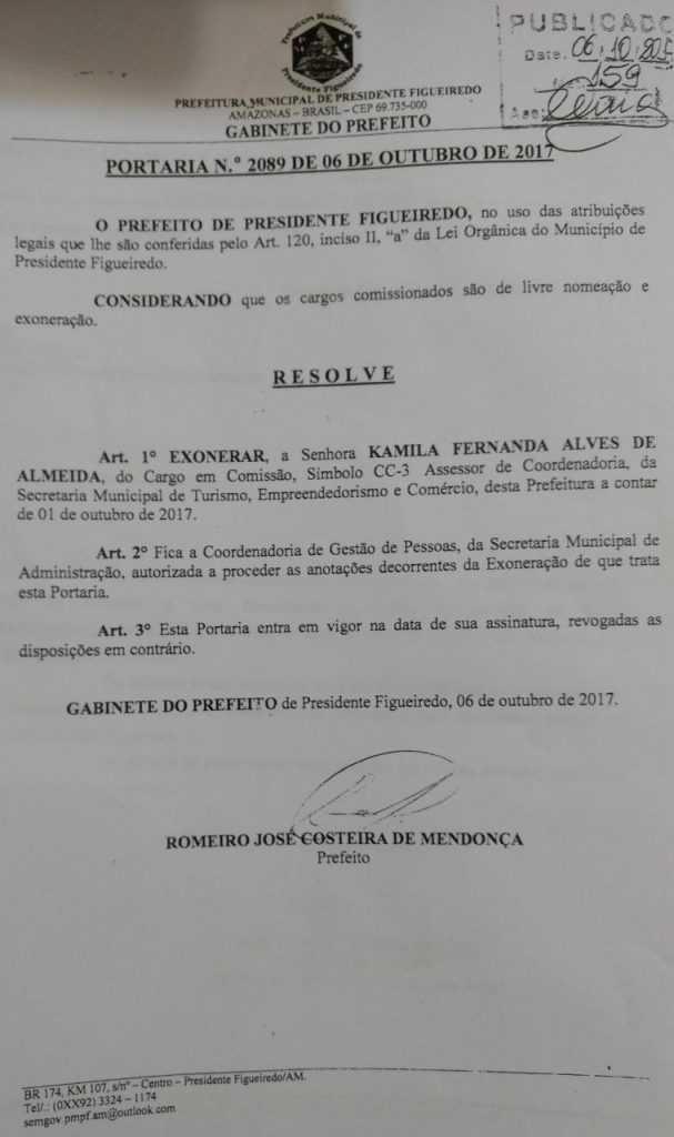 Mulher que denunciou secretário de Turismo de Presidente Figueiredo por assédio sexual é demitida - Imagem:Divulgação