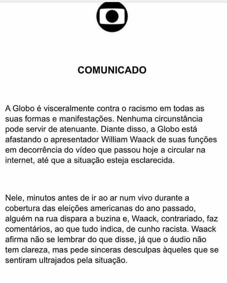 Nota da Globo justificando o afastamento de  William Waack - Imagem : Divulgação