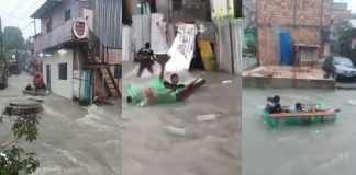 Jovens praticam esporte radical nas águas da chuva que caiu em Manaus / Reprodução Youtube