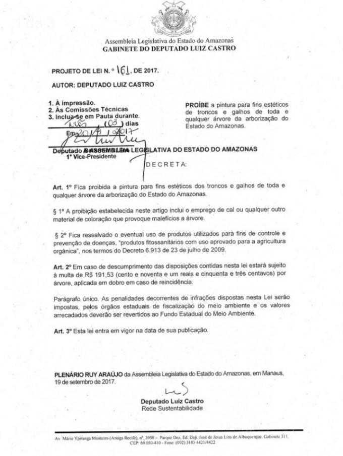Projeto de Lei 161 de 2017 da Assembleia Legislativa do Amazonas