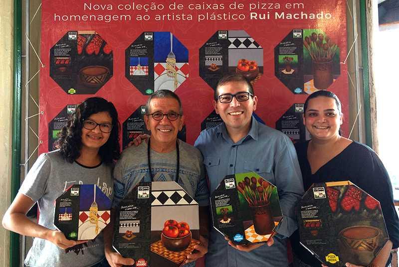 Equipe da Focus DM e o artista Rui Machado / Foto : Marcus Pessoa
