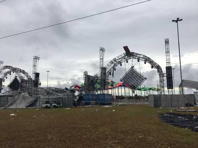 DJ morre e pessoas ficam feridas durante desabamento de palco em festa rave- Imagem: Cristine Gallisa/RBS TV