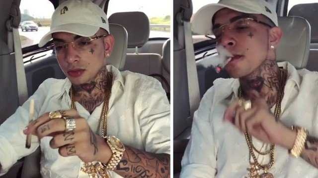"""MC Guimê posta vídeo fumando """"maconha"""" e causa polêmica na internet - Imagem: Reprodução"""