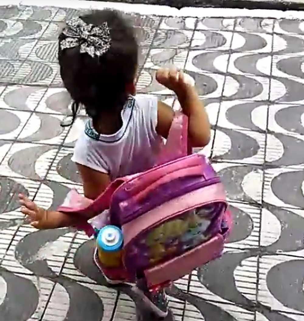 Alice, de 2 anos, tentou levar o filhote para a escola em Praia Grande, SP (Foto: Reprodução)
