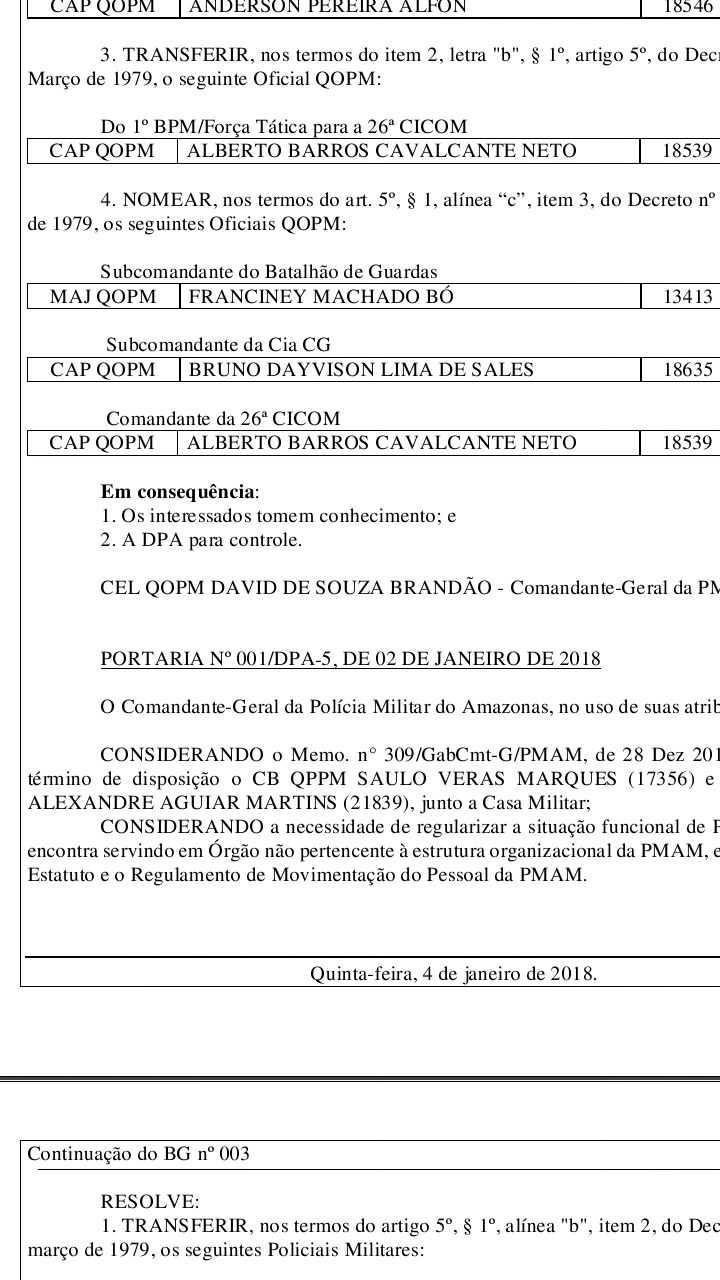 BOLETIM GERAL OSTENSIVO / Divulgação