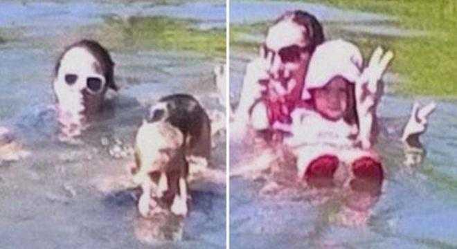 Mãe se choca ao ver fotografia que tirou enquanto ela e seus filhos nadavam no lago, tem algo surpreendente na imagem / Divulgação