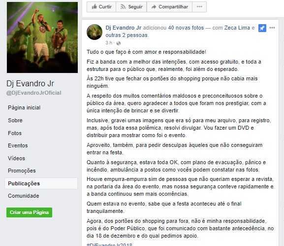 Dj Evandro Jr emite nota após incidente no Shopping Via Norte em Manaus - Imagem: Facebook