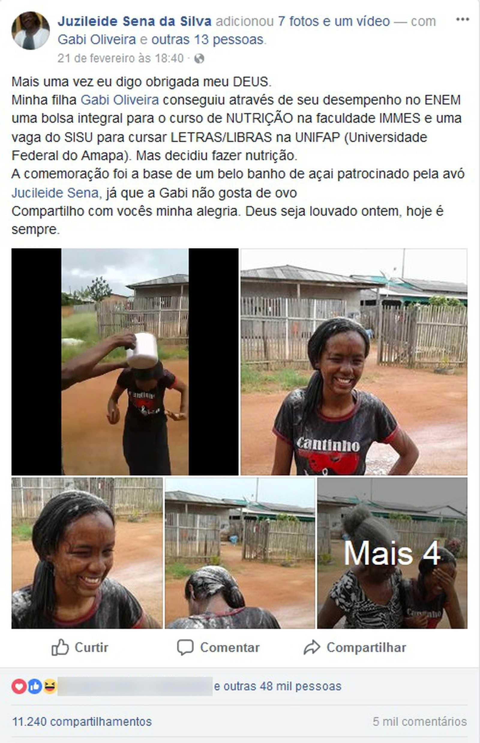 Estudante ganhou um banho de açaí após a conseguir a bolsa de estudos em faculdade de Macapá (Foto: Reprodução/Facebook)