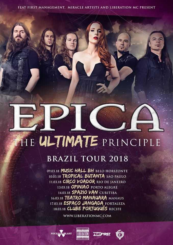 """Epica em Manaus: """"The Ultimate Principle Tour"""" no Brasil"""