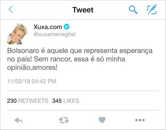 Saiba a verdade sobre a informação que Xuxa apoia Bolsonaro para presidência - Imagem: Divulgação