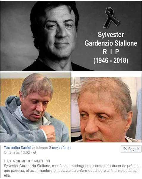 O boato da morte de Sylvester Stallone se espalha no Facebook