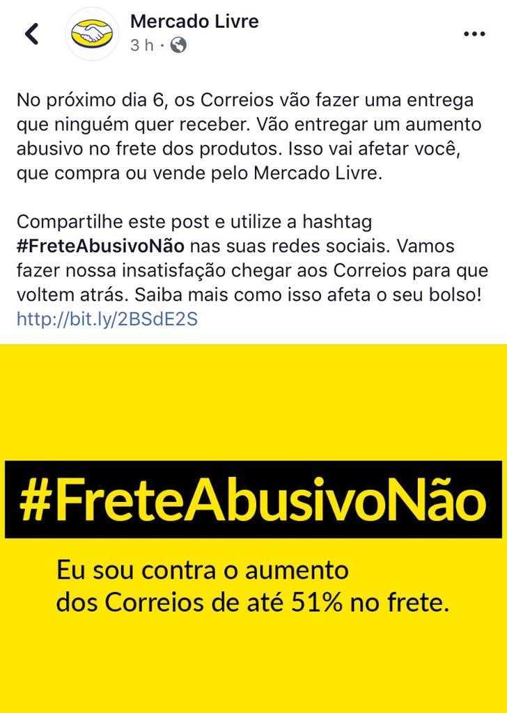 Manifesto do Mercado Livre #FreteAbusivoNão / Foto : Reprodução