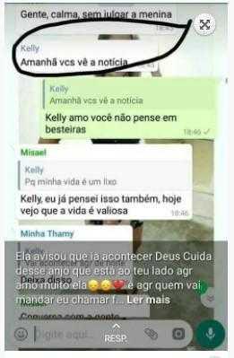 Trecho do grupo de Whatsapp que a Kely disse que se suicidaria / Foto : Divulgação