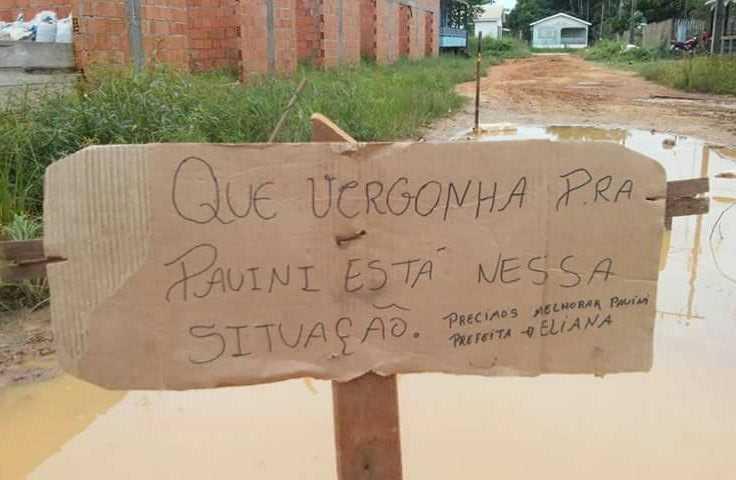 Lama, fezes e lixo é o legado que a atual administração de Pauiní tem deixado para seus cidadãos / Foto : Divulgação