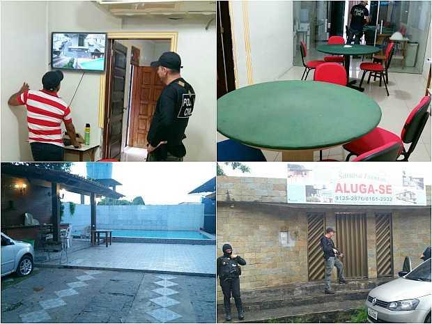 Fachada da casa informa que no local funciona casa que promove eventos, mas dentro do imóvel, polícia diz ter encontrado cassino luxuoso (Foto: Divulgação/Polícia Civil)