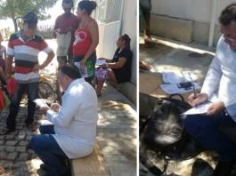 Com Posto de Saúde fechado, médico atende pacientes na calçada - Imagem: Divulgação