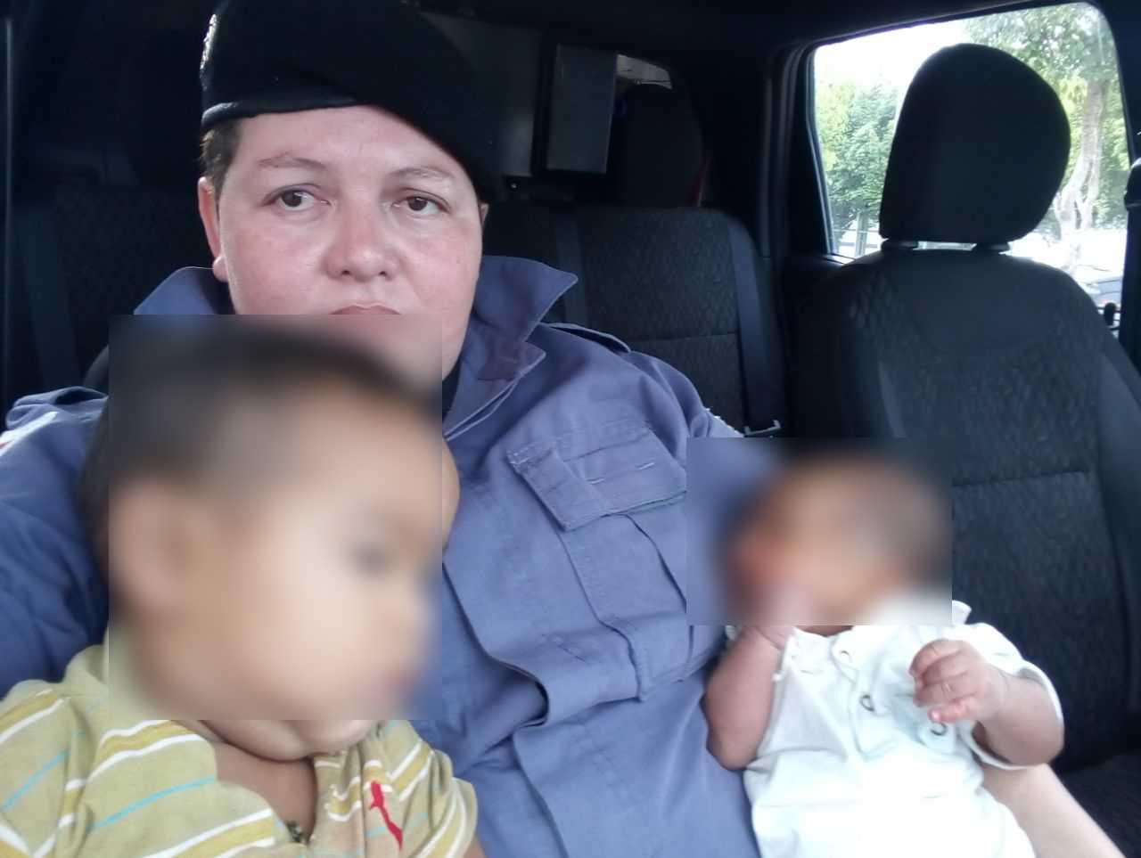 Policiais militares resgatam bebês de 1 mês e de 1 ano abandonados pela mãe, em Manaus - Imagem - PM/AM