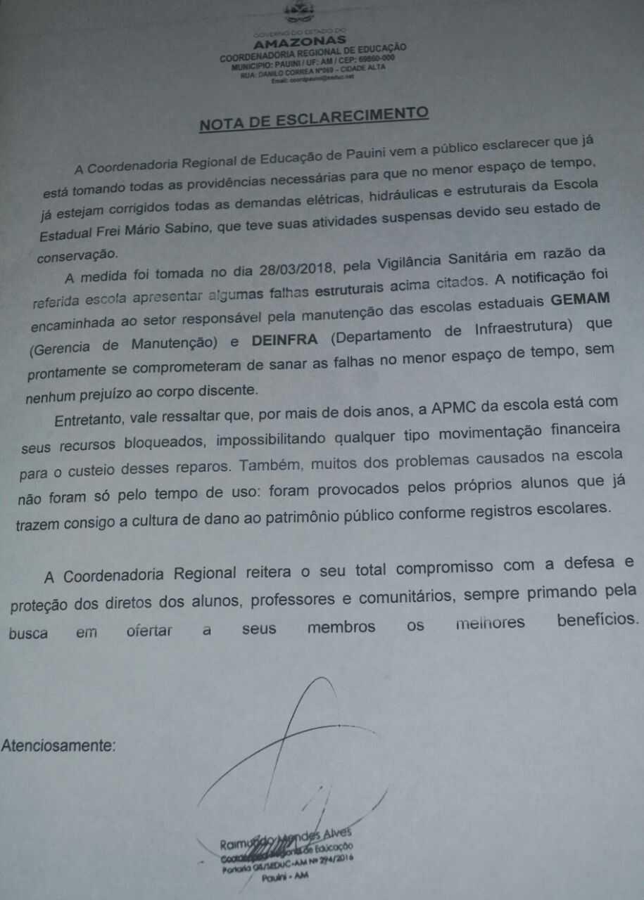 Nota de esclarecimento do coordenador regional de educação em Pauini. / Divulgação