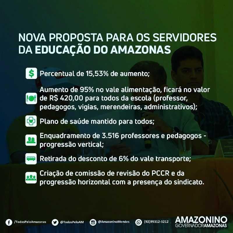 Nova proposta para os servidores da Educação do Amazonas feita pelo governador Amazonino Mendes / Foto : Reprodução Facebook