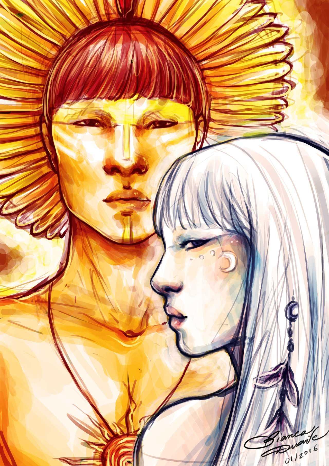 Jaci e Guaraci, a Lua e o Sol ;) Os gêmeos são os primeiros deuses criados por Tupã, o deus dos raios, e regem os seres vivos. Espero que gostem!  / Ilustração Bianca Duarte