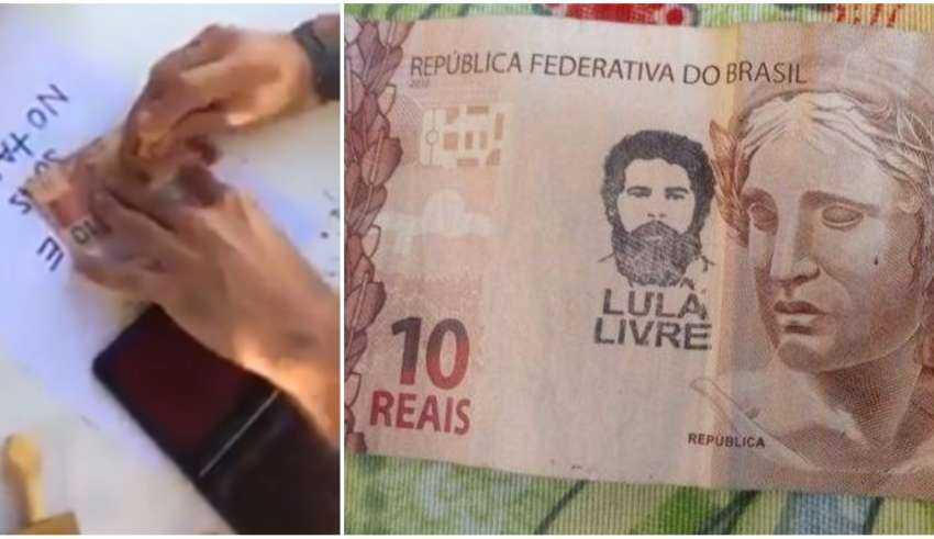 Vídeo: Apoiadores carimbam rosto de Lula em cédulas de dinheiro - Imagem: Divulgação