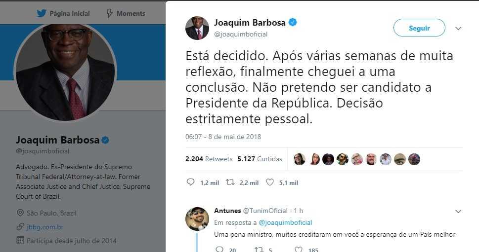 Ex-ministro do STF anunciou decisão através de sua conta pessoal no Twitter - Imagem: Reprodução