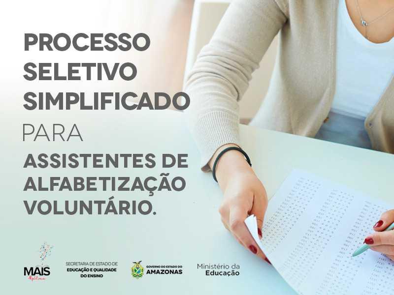 Programa Mais Alfabetização inicia Processo Seletivo Simplificado para 245 vagas de Assistentes de Alfabetização Voluntário