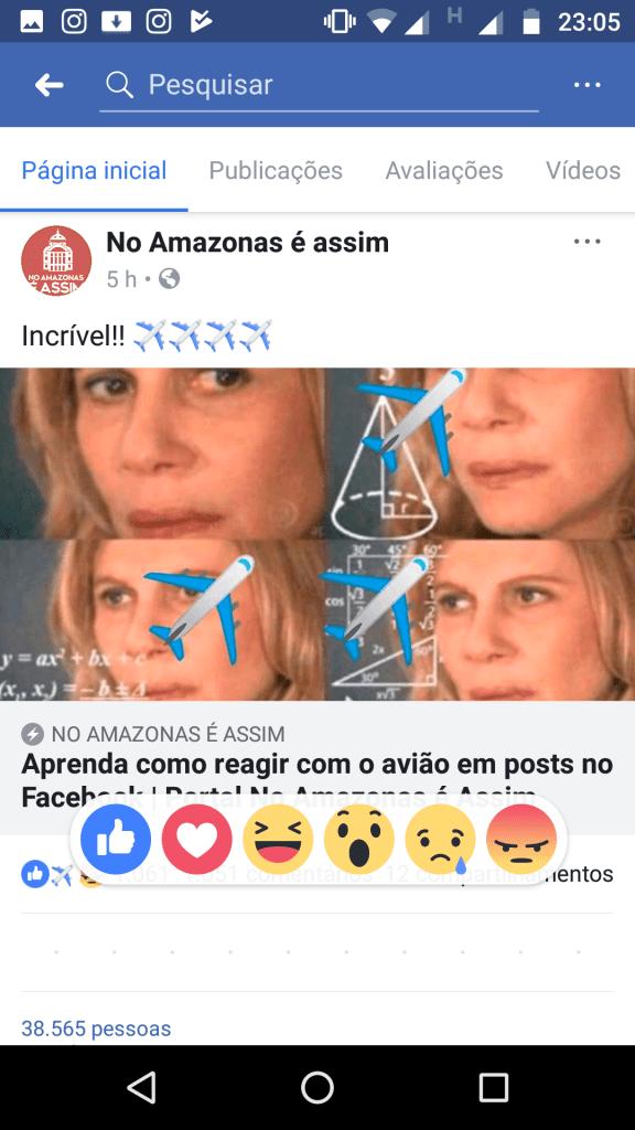 como reagir com avião no facebook