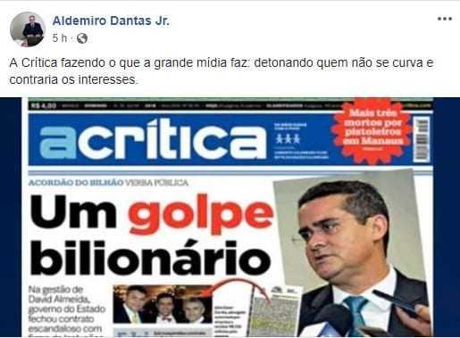 Deputado sofre retaliação após denunciar esquema em vistoria veicular em Manaus - Imagem: Reprodução Facebook