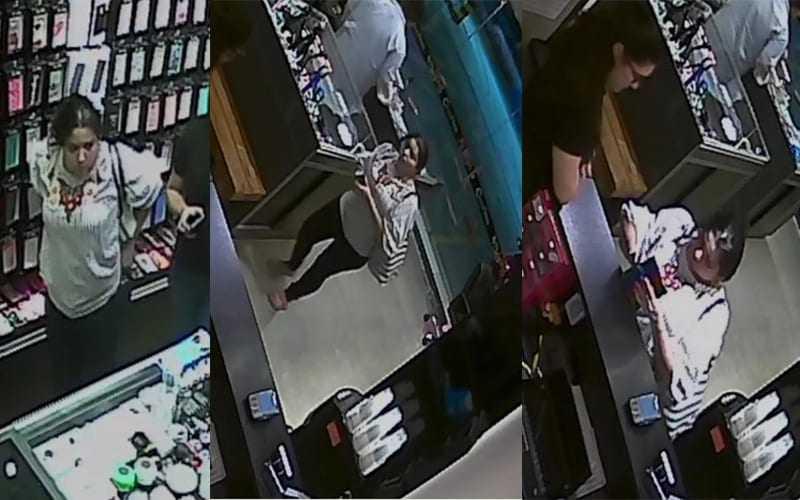 Câmera flagra mulher furtando celular em loja no Parque Dez