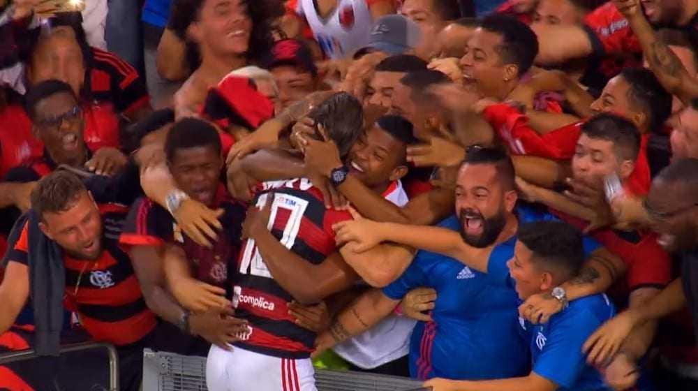 Diego comemora o gol com a torcida; Rafael e o enteado Caio estão de azul — Foto: Reprodução / TV Globo