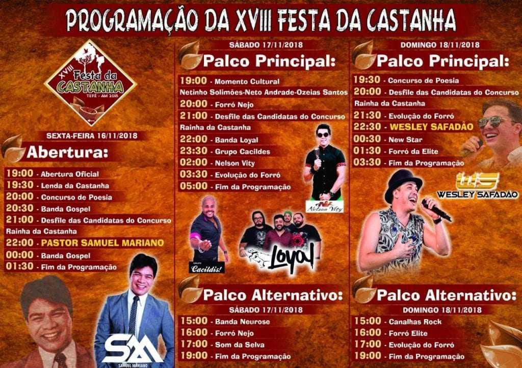 Conheça a programação oficial da XVIII a Festa da Castanha 2018