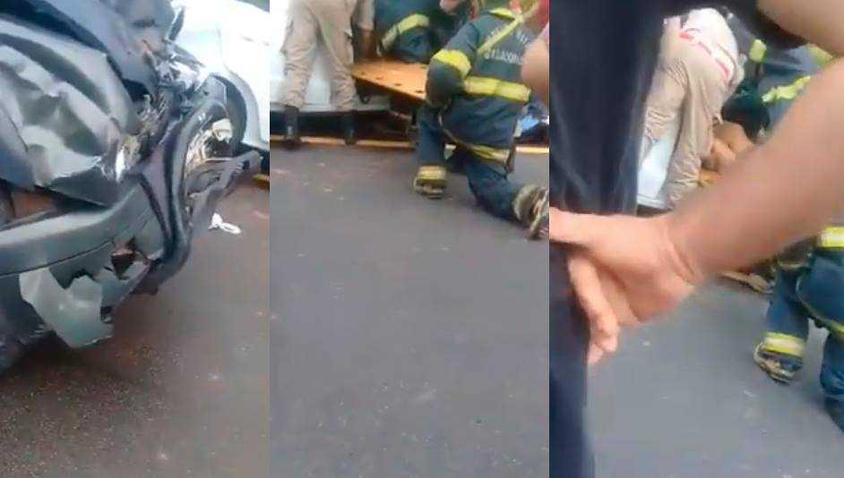 Segundo Bombeiros, duas vítimas foram encaminhadas para o Pronto Socorro, e condutor do veículo não sofreu ferimentos. / Foto: Reprodução
