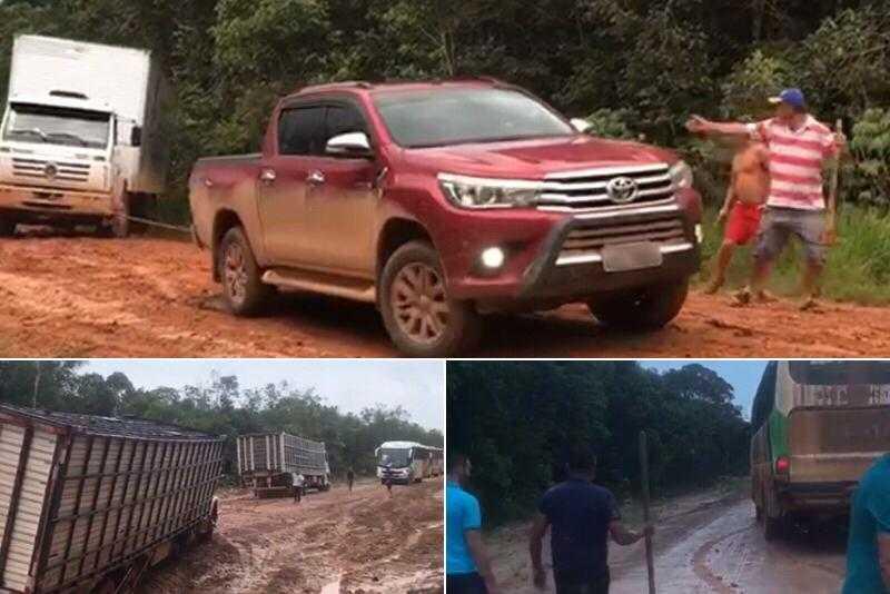 Motoristas e pedestres enfrentam lamaçal na rodovia Transamazônica, adverte Serafim / Foto : Divulgação