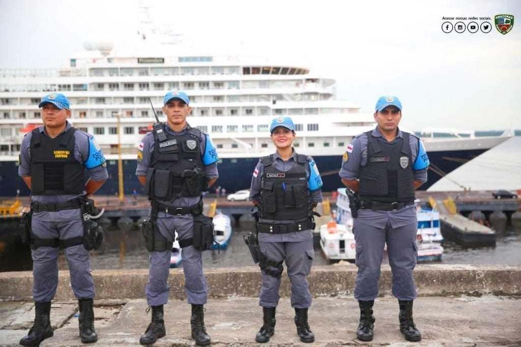 Durante a temporada de cruzeiros na capital, as equipes do Policiamento Turístico, Comando de Policiamento da Área Sul, Comando de Policiamento de Interior  e Batalhão Ambiental estarão empenhadas na segurança dos turistas. / Foto: Divulgação/PMAM