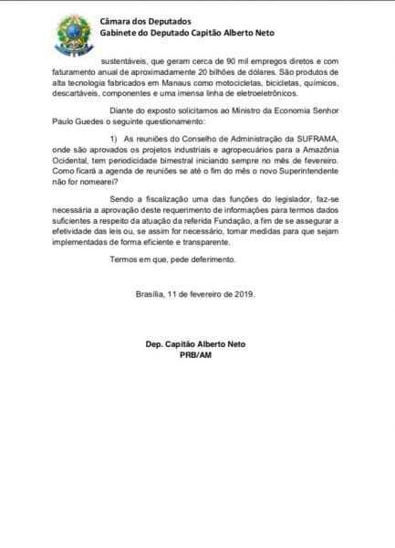 Capitao Alberto Neto pede nomeacao imediata para direcao da Suframa - Imagem: Divulgação