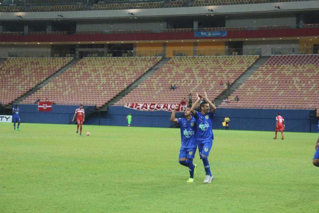 O Atacante Romarinho marcou 2 gols na noite de ontem, em jogo do Barezão. / Foto: Nickson Maciel