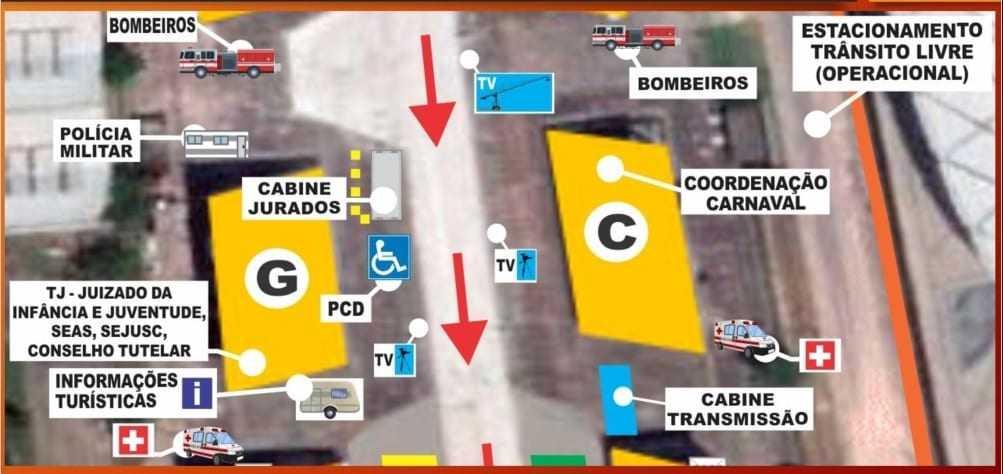 Nos três dias do evento, o camarote acessível estará localizado do lado esquerdo do Sambódromo, em frente AP arquibancada e camarotes 'G'. / Foto: Divulgação