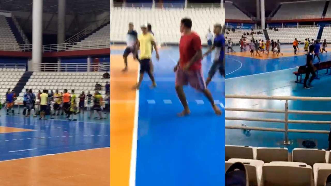 Partida de futsal é paralisada por confusão generalizada, em Manaus. / Foto: Reprodução