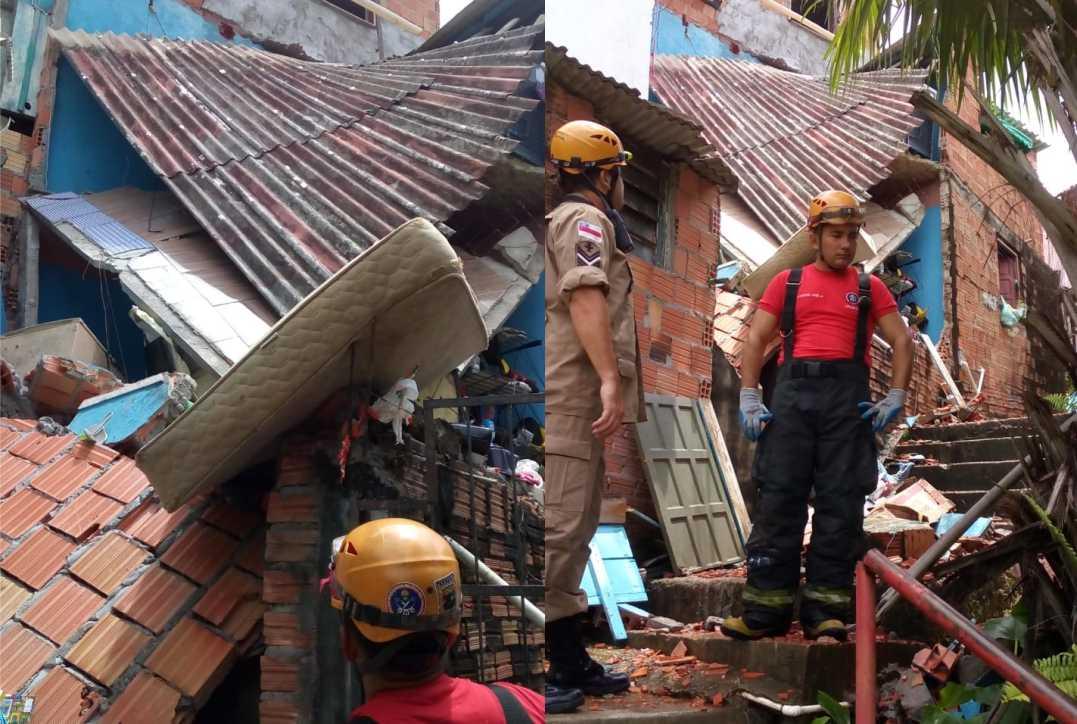 O desabamento ocorreu por volta das 10h55. / Foto: Divulgação/CBMAM