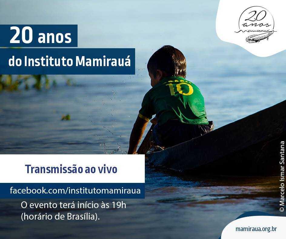 Assista hoje, às 19h (de Brasília), a transmissão ao vivo do evento em celebração aos 20 anos do Instituto Mamirauá. Comemore com a gente! 😁 Foto: Marcelo Ismar Santana