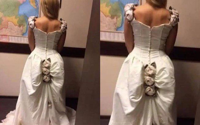 Mulher queria um vestido de noiva chamativo e conseguiu! / Reprodução/Facebook