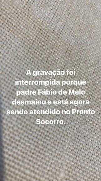 Padre Fábio de Melo passou mal no começo da tarde desta quinta-feira (23)