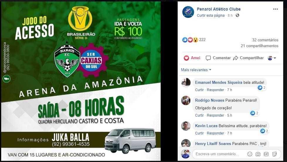 Penarol Atlético Clube de Itacoatira anuncia serviço de van para quem for pro jogo do Manaus FC na capital / Reprodução Facebook