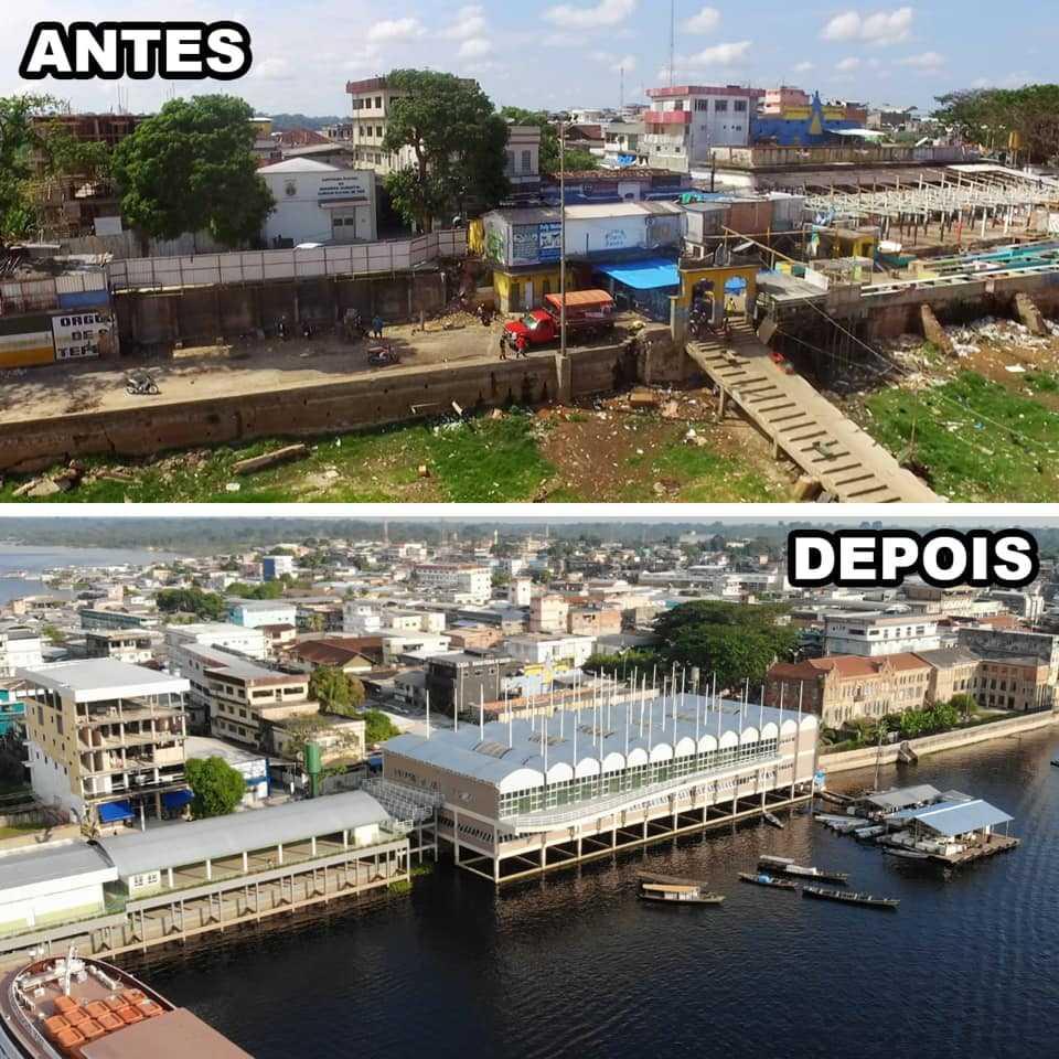 Feira Municipal e  o porto Municipal de Tefé, antes e depois do Normando Bessa de Sá