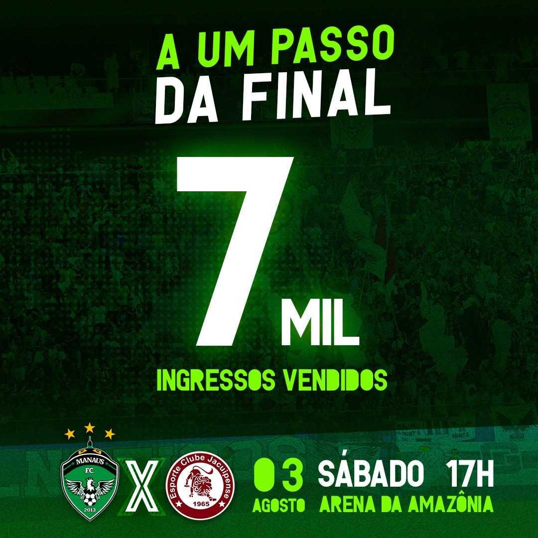 Saiba onde comprar os ingressos para o jogo Manaus FC x Esporte Clube Jacuipense